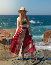 Load image into Gallery viewer, Sleek Sari Silk Wrap Skirt - Sunrise Glory - Avoca Collection