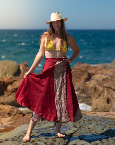 Sleek Sari Silk Wrap Skirt - Ruby Jewel - Avoca Collection