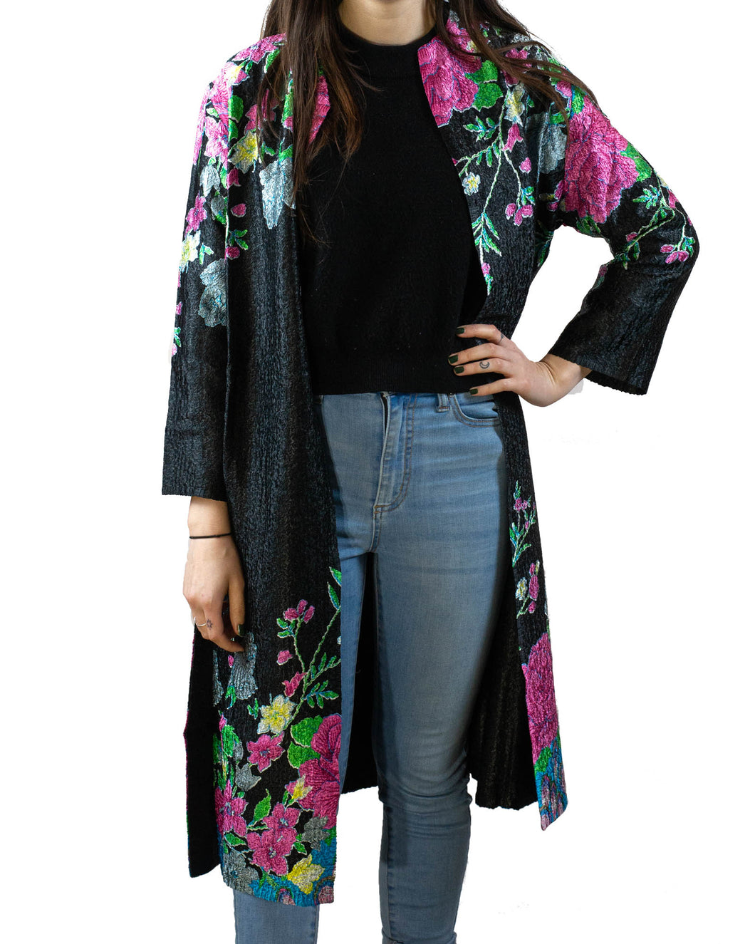 Reversible Silk Jacket - Black with Pink Floral - Long Line - Beths Emporium