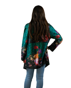 Reversible Silk Jacket - Deep Green with Floral - Collared - Beths Emporium
