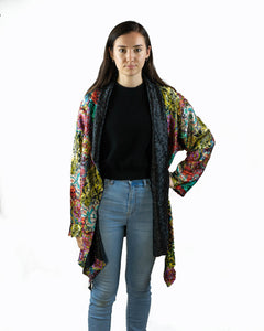 Reversible Silk Jacket - Coat of Many Colours with Black - Collared - Beths Emporium