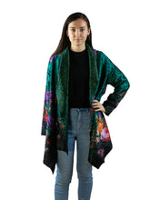 Load image into Gallery viewer, Reversible Silk Jacket - Deep Green with Floral - Collared - Beths Emporium