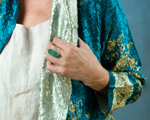 Reversible Silk Jacket - Turquoise & Gold - Collared - Beths Emporium