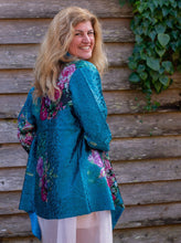 Load image into Gallery viewer, Silk Jacket - Cerulean Blue with Floral Spray - Collared - Beths Emporium
