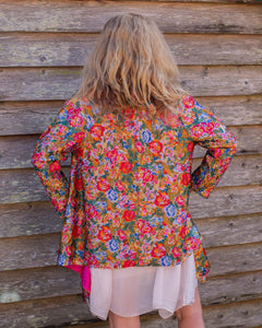 Reversible Silk Jacket - Floral with Pink  - Collared - Beths Emporium