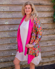 Load image into Gallery viewer, Reversible Silk Jacket - Floral with Pink  - Collared - Beths Emporium