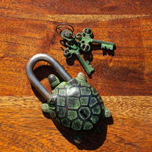 Load image into Gallery viewer, Brass Antique Vintage  Turtle Padlock - Verdigris Finish - Beths Emporium
