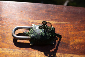 Brass Antique Vintage  Turtle Padlock - Verdigris Finish - Beths Emporium