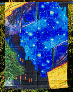 Cotton Impressionist Art Scarf - van Gogh : Night Cafe