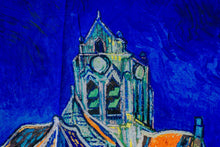 Load image into Gallery viewer, Cotton Impressionist Art Scarf - van Gogh : Church in Auvers
