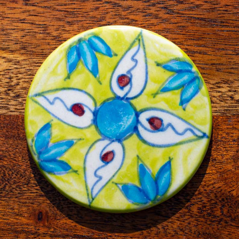 Coaster - Slice of LIme - Hand Painted. Colourful, Boho, Unique - Beths Emporium