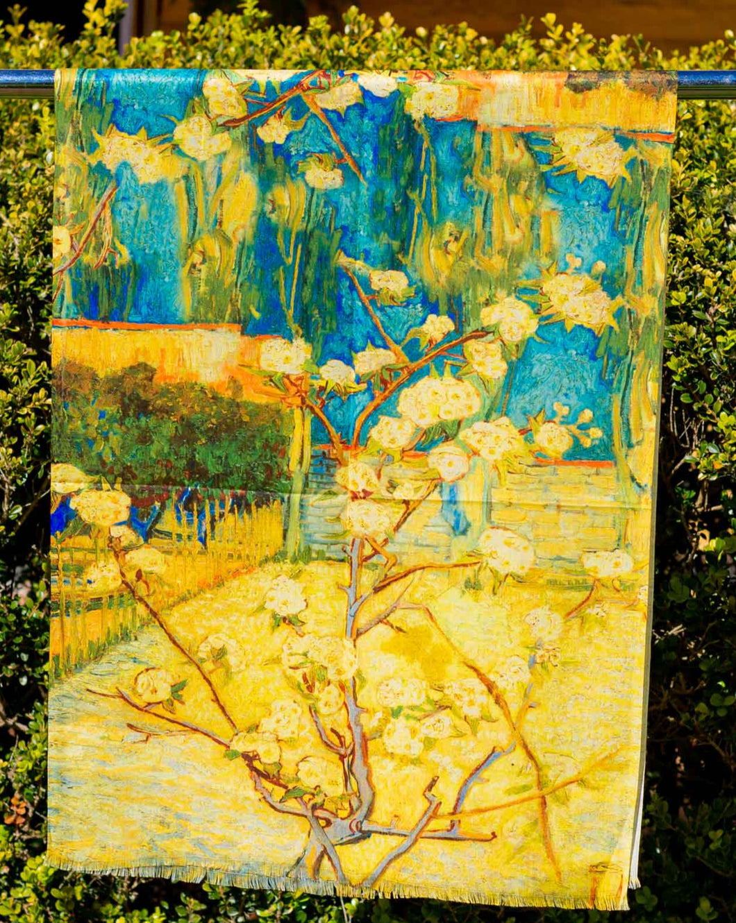 Cotton Impressionist Art Scarf - van Gogh : Small Pear Tree in Blossom