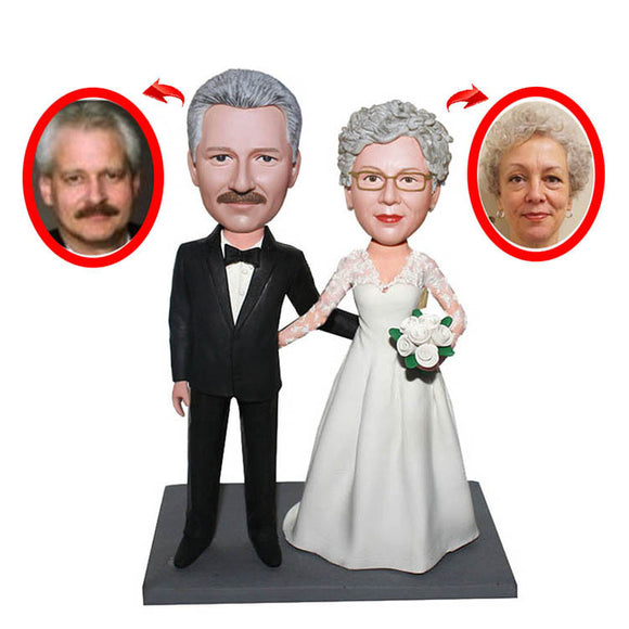 Custom Wedding Anniversary Bobbleheads For Parents, Personalized Wedding Couple Bobbleheads - Abobblehead.com