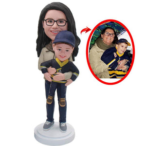 Custom Mother And Son Bobbleheads, Personalized Baby And Mother Bobblehead - Abobblehead.com