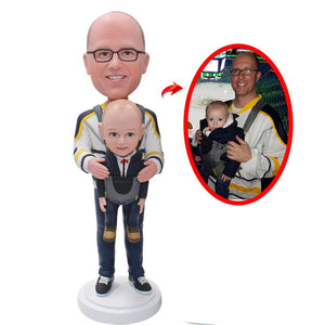 Custom Father And Son Bobbleheads, Personalized Baby And Father Bobblehead - Abobblehead.com