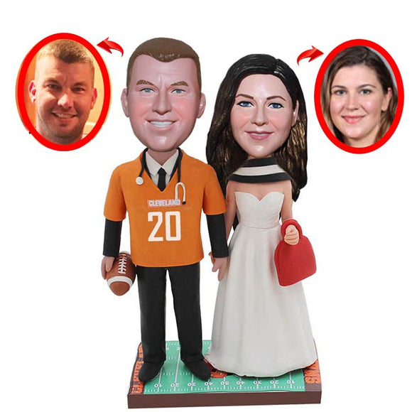 Custom Sport bobbleheads Wedding Cake Toppers For Wedding, Personalized Wedding bobbleheads From Your Photos - Abobblehead.com