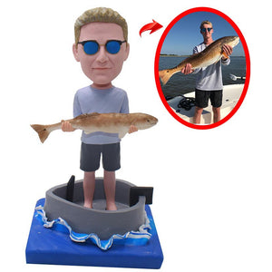 Custom Fishing Figurines Of Yourself, Custom Bobbleheads In Fishing Boat - Abobblehead.com