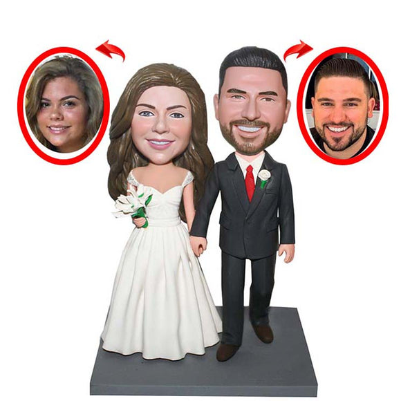 Custom Couple Bobbleheads Bride Groom Wedding Cake Toppers, Wedding Custom Bobblehead Double Body Two Persons - Abobblehead.com