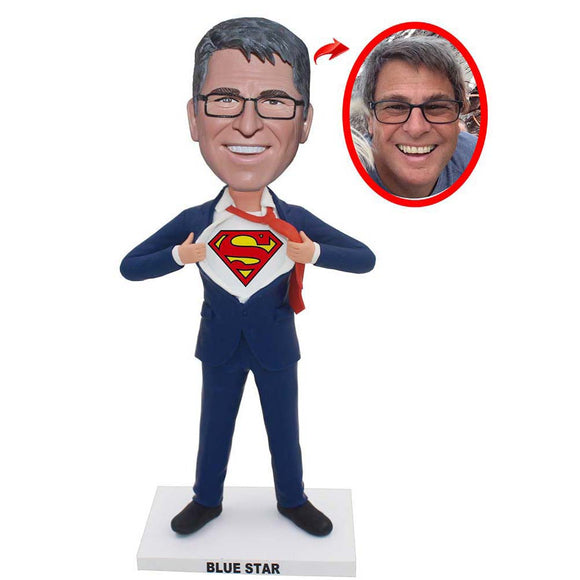Make Yourself Into Superman Figure, Personalized Superman Action Figure From Your Photos - Abobblehead.com