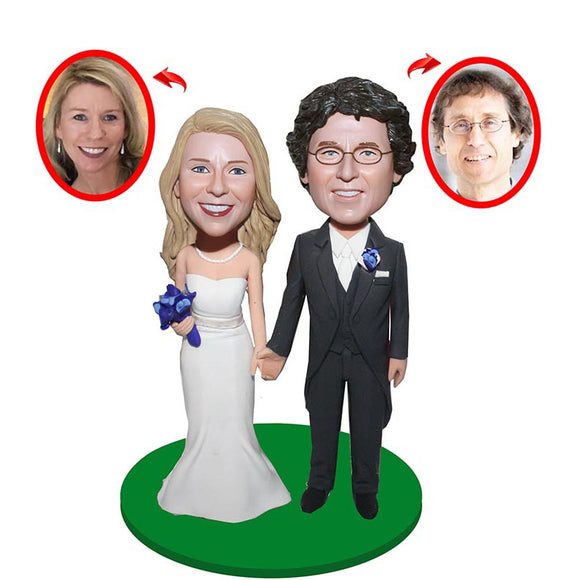 Personalized Bride And Groom Wedding Cake Toppers From Photos, Wedding Custom Bobblehead Double Body Two Persons - Abobblehead.com
