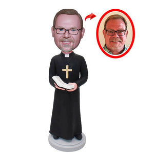 Personalized Priest Bobbleheads From Photo, Custom Made Catholic Priest Bobble Head - Abobblehead.com