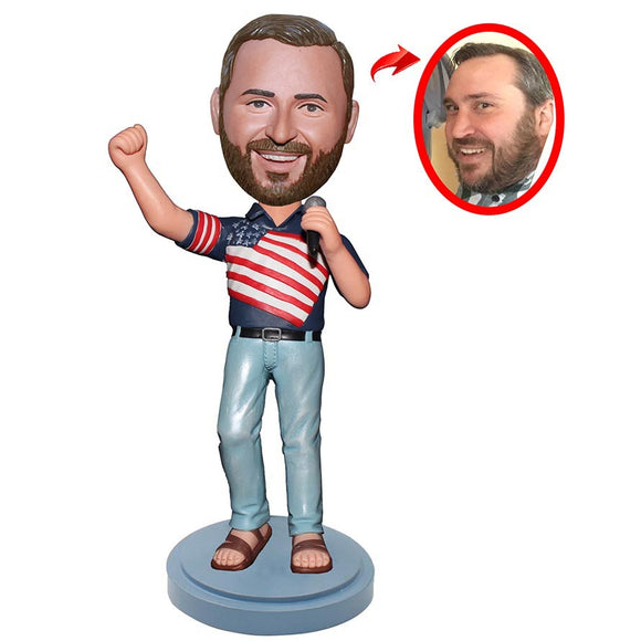 Custom Singing Bobbleheads, Personalized Bobblehead With A Microphone - Abobblehead.com