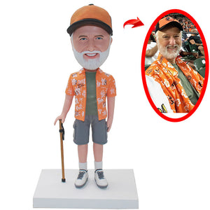Custom Fahter Bobbleheads Funny Gift For 80 Year Old Man - Abobblehead.com