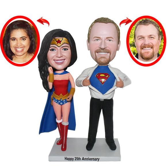 Custom Superhero Couple Bobbleheads, Custom Superman and Wonder Woman Bobbleheads - Abobblehead.com