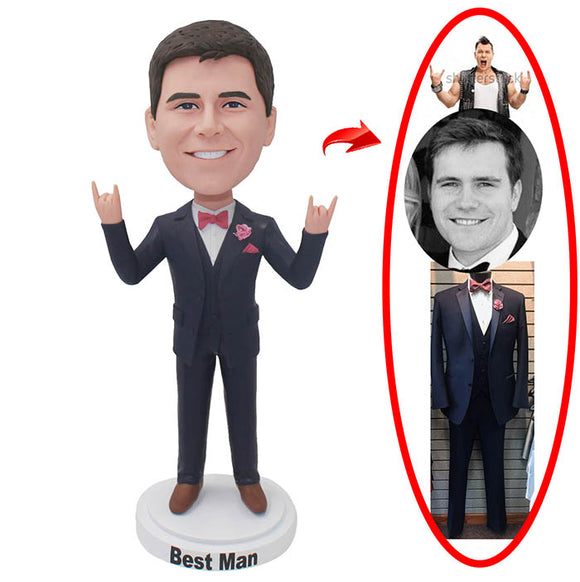 Customized Groomsman Bobbleheads, Personalized Bridegroom Bobbleheads From Photos - Abobblehead.com