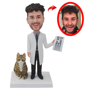 Custom Vision Test Doctor Bobbleheads With Cat Best Gift For Doctor From His Photos - Abobblehead.com