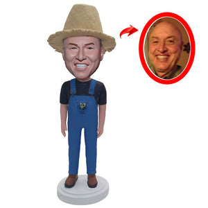 Custom Cowboys Bobbleheads, Personalized Bobbleheads With Straw Hat - Abobblehead.com