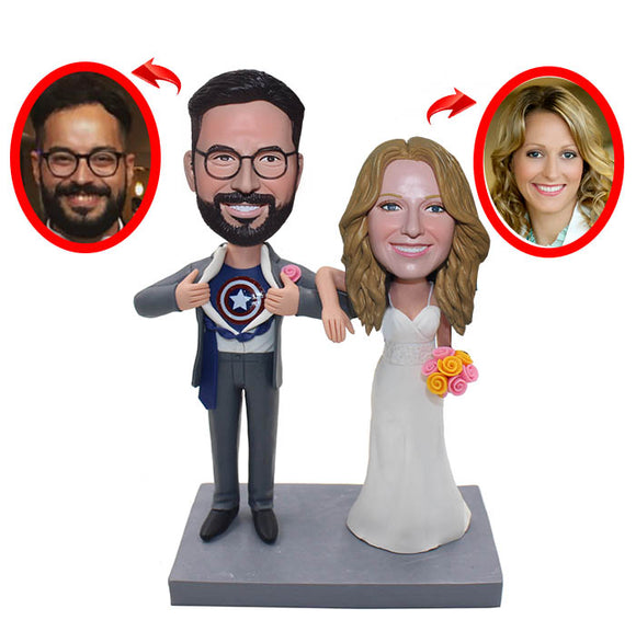 Custom Wedding Couple Figures, Custom Superman Wedding Bobblehead Cake Toppers - Abobblehead.com