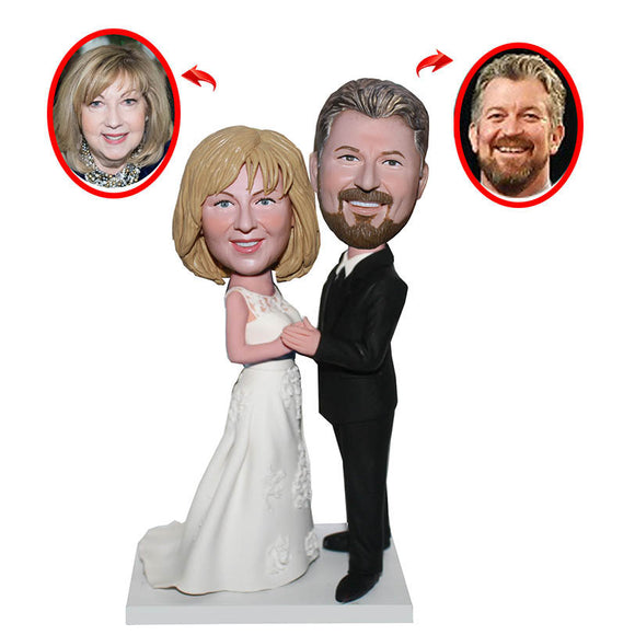Custom Wedding Cake Toppers Couple, Custom Bobbleheads Wedding Cake Toppers, Custom Figurine Wedding Cake Toppers - Abobblehead.com