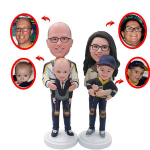 Custom Father Mother And 2 Son Bobbleheads, Personalized 2 Baby And Parents Bobblehead - Abobblehead.com