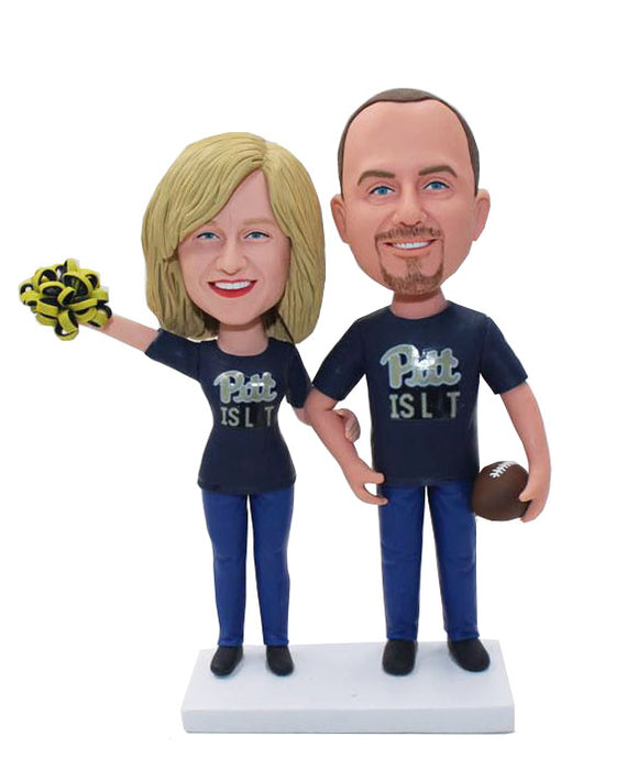 Customized Sports Fan Bobbleheads Couple, Personalized Bobblehead Sports Figures - Abobblehead.com