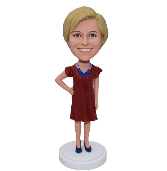 Custom Female Bobblehead One Hand On Her Hip For Her - Abobblehead.com