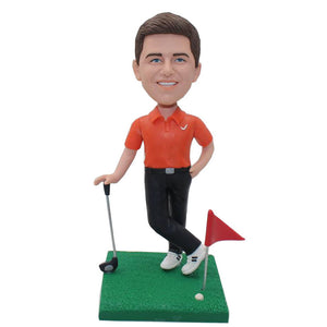 Custom Golf Bobblehead, Personalized Bobblehead Playing Golf - Abobblehead.com