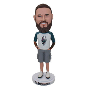 Custom Bearded Male Bobbleheads Tattoos On The Arms - Abobblehead.com