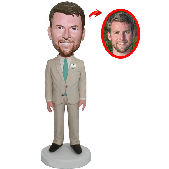 Custom Business Suit Bobblehead, Custom Groom Bobbleheads, Custom Groomsman Bobbleheads From Photos - Abobblehead.com