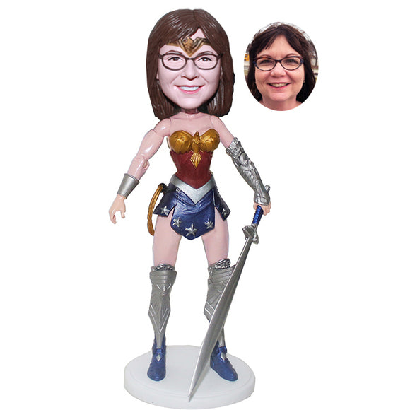 Make Your Own Action Dolls, Custom Wonder Woman Bobblehead, Personalized Action Figure Wonder Woman - Abobblehead.com