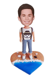 Custom Beach Bobbleheads of Kids, Custom Baby Bobbleheads, Custom Kids Figurines From Photo - Abobblehead.com