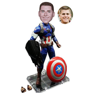 Custom Captain America Bobblehead, Personalized Captain America Shield Figurines From Your Photos - Abobblehead.com