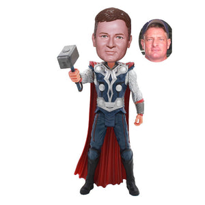 Custom Thor Bobble-Head Action Dolls, Custom Made Bobblehead With Thor Hammer From Your Photos - Abobblehead.com