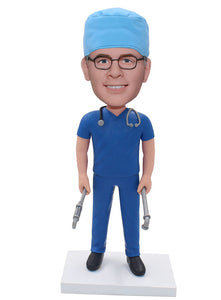 Custom Surgeon Bobblehead Man, Customized Doctor Physician Figures Cheap, Personalized Dentist Bobblehead - Abobblehead.com