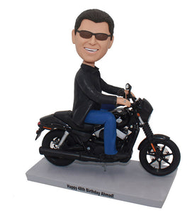 Personalized Bobble Head Doll On Motorcycle Men, Unique Gifts For Motorcycle Enthusiast - Abobblehead.com
