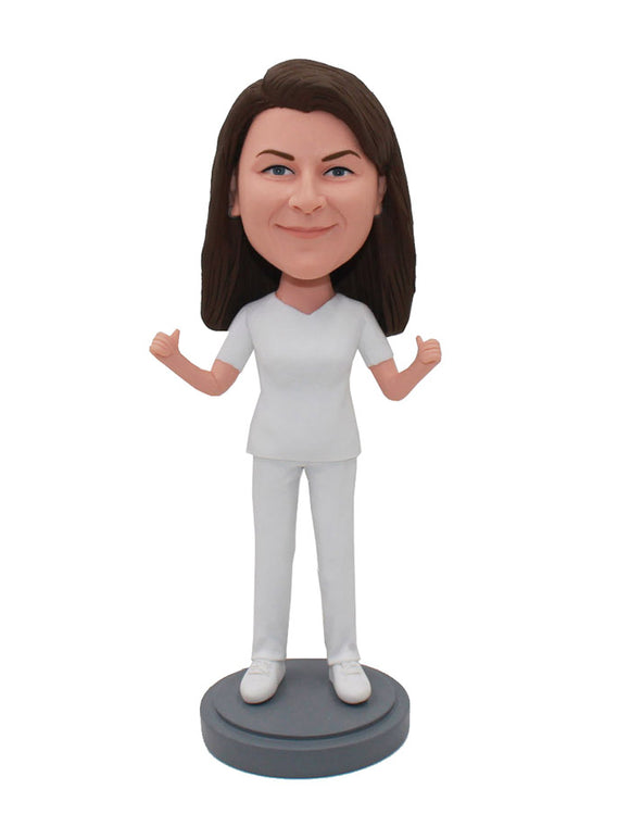 Custom Bobblehead Thumbs Up Women, Make Your Own Bobblehead That Looks Like You - Abobblehead.com