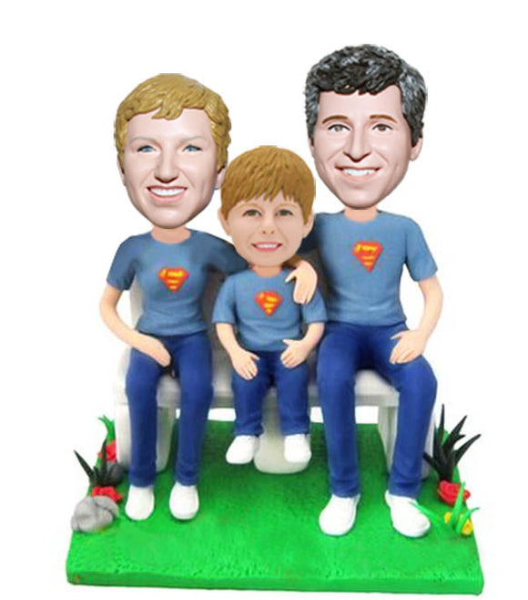 Custom Family Bobbleheads, Father Mother and Son Bobbleheads Family of Three - Abobblehead.com