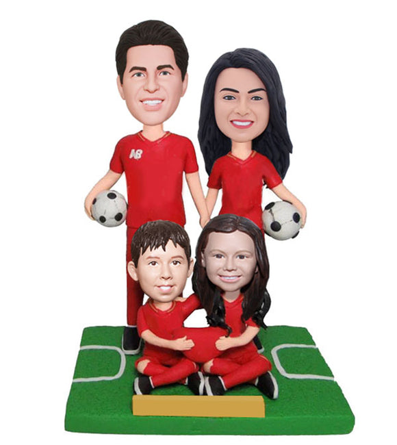 Personalized Family Bobbleheads, Father Mother Son and Daughter Bobbleheads Four People - Abobblehead.com