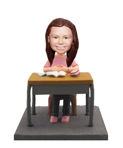 Custom Desk and Student Bobblehead Little Girl, Custom Little Figures From You Picture - Abobblehead.com