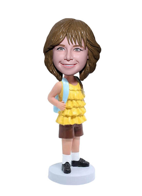 Custom Bobbleheads For Little Gril Carrying A School Bag, Build Your Own Bobblehead - Abobblehead.com
